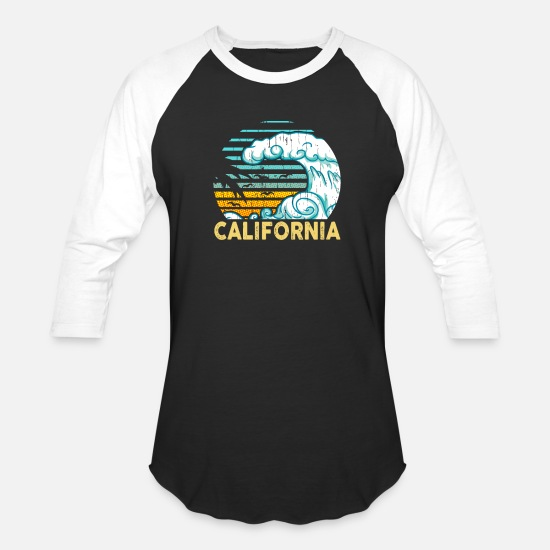Surfer T-Shirts - CALIFORNIA - Unisex Baseball T-Shirt black/white