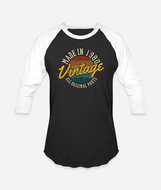 Funny 40th Birthday T-Shirts - Made In 1980 Vintage Funny 40th Birthday Gift - Unisex Baseball T-Shirt black/white