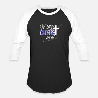 Exclusive Christian Christmas Gift Merry Christmas With Blue Stars & Sprinkles Cross - Unisex Baseball T-Shirt