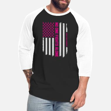 Month Patriotic American Flag Breast Cancer Awareness - Unisex Baseball T-Shirt