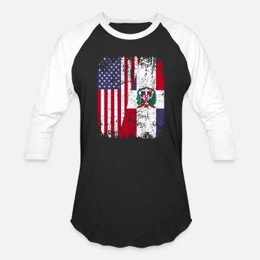 Flag DOMINICAN ROOTS | American Flag DOMINICAN REPUBLIC - Baseball T-Shirt
