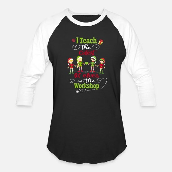 Holiday T-Shirts - Christmas Teacher Holiday Gift Cutest Elves - Unisex Baseball T-Shirt black/white