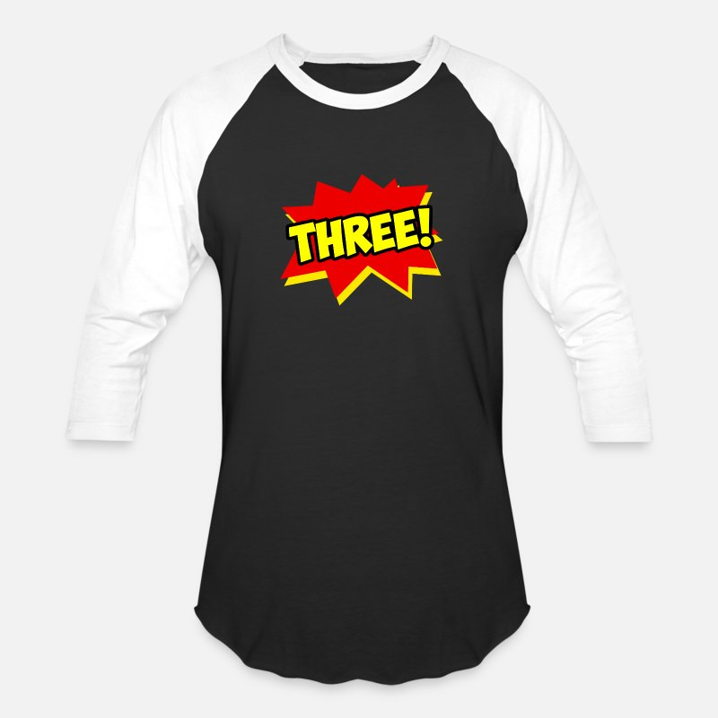 Superhero Birthday Kid Turning Three Boy Unisex Baseball T