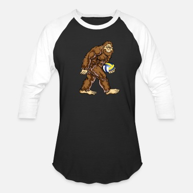 Cool Volleyball Design Bigfoot Hunter Volleyball Player Funny Design - Baseball T-Shirt