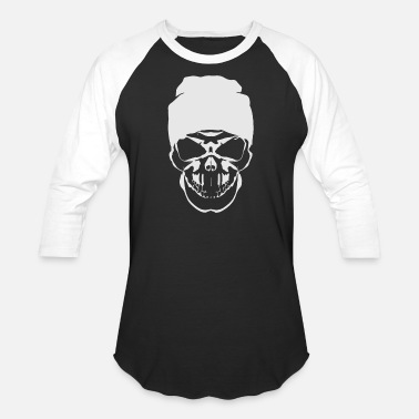 Skull with Hat Hipster Skull Black - Unisex Baseball T-Shirt