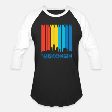 Milwaukee City - retro 1970's milwaukee wisconsin downtown - Baseball T-Shirt