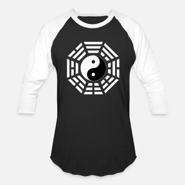 Daoism FuXi Earlier Heaven Bagua with Taijitu - white - Baseball T-Shirt