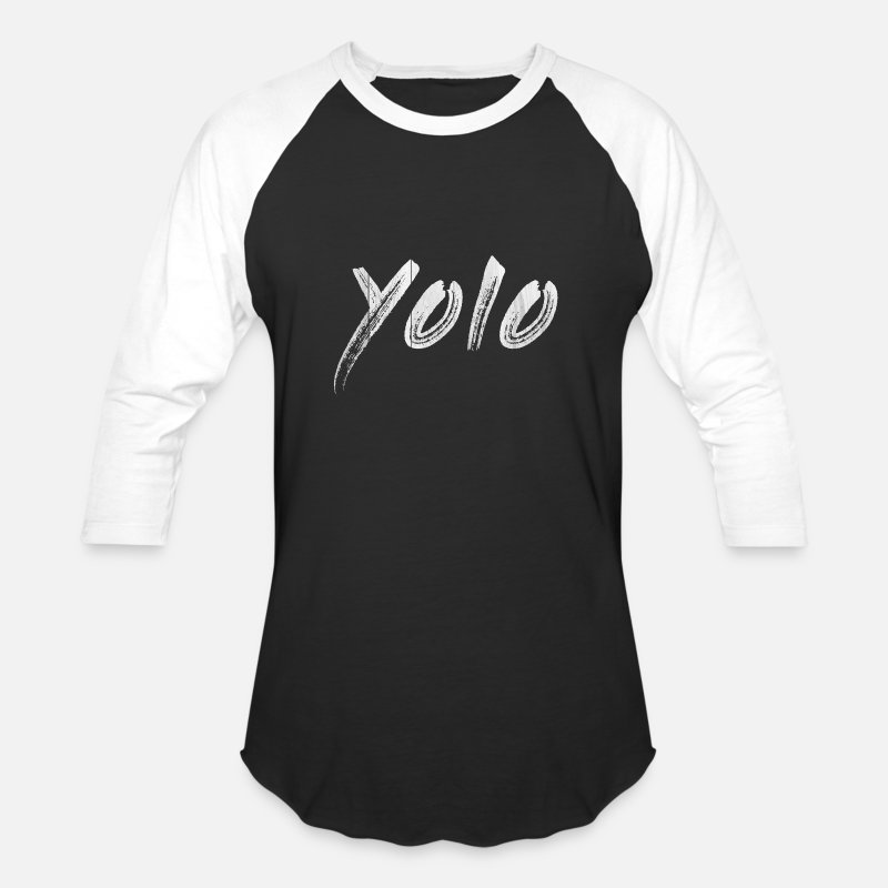 Word T-Shirts - You Only Live Once - Unisex Baseball T-Shirt black/white