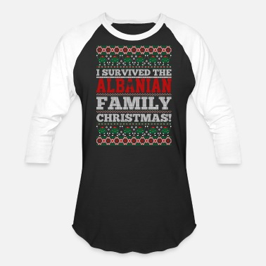 Tshi I Survived The Albanian Family Ugly Christmas Tshi - Unisex Baseball T-Shirt