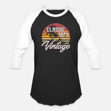 Vintage 44th Birthday Gifts Retro Vintage 1974 T-Shirt - Unisex Baseball T-Shirt