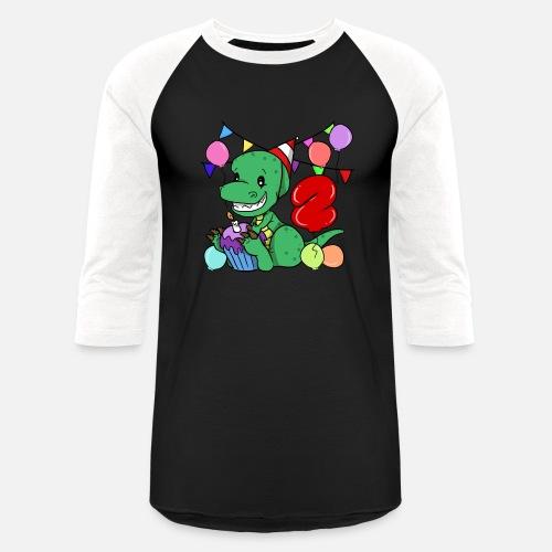 Unisex Baseball T Shirt2nd Birthday Dinosaur Gift Party Shirt