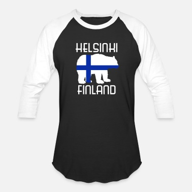 Viking Bear Finland bear flag north country viking Helsinki - Baseball T-Shirt