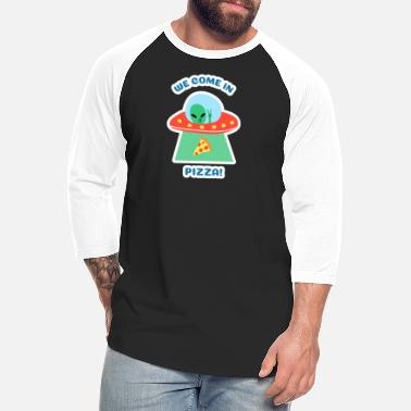 Pizza Ufo Funny Space Alien Pizza Abduction Lover UFO Junk - Unisex Baseball T-Shirt