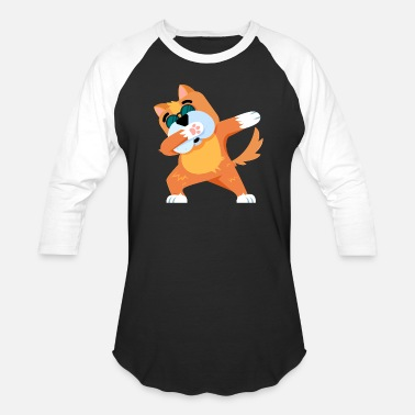 Funny Cute Cool Woof Funny Cute Dab Dabbing Dog - Baseball T-Shirt
