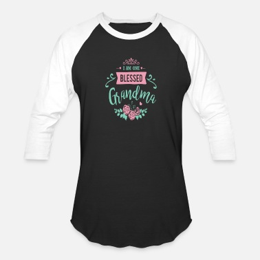 Floral I Am One Blessed Grandma Peach Teal Floral - Unisex Baseball T-Shirt