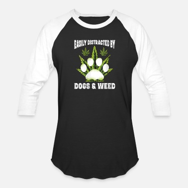 Easily Distracted By Dogs Weed Funny Dog Lover Gif - Unisex Baseball T-Shirt