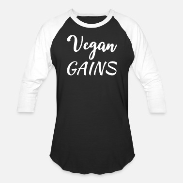 Gains VEGAN FITNESS: Vegan Gains - Unisex Baseball T-Shirt