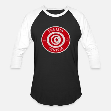 Sousse Tunisia Vintage Circle with National Flag - Unisex Baseball T-Shirt