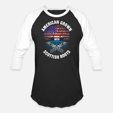 Scottish American Grown Scottish Roots - Baseball T-Shirt
