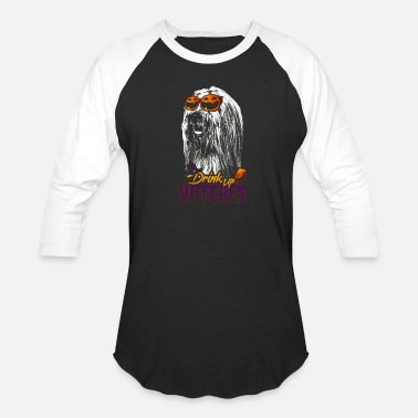 Bearded Collie Bearded Collie Drink Up Witches Funny Halloween Sh - Unisex Baseball T-Shirt