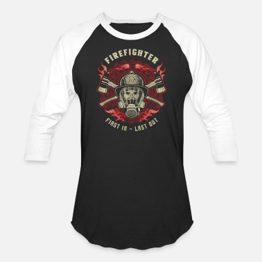 Firefighter Last Out - Unisex Baseball T-Shirt