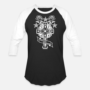 Tatoo tattoo rose cross and nautical star - Unisex Baseball T-Shirt