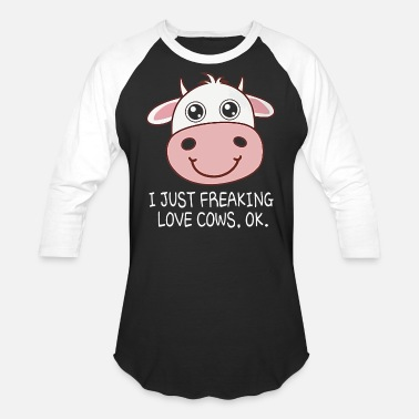 Cow I just freaking love cows - Unisex Baseball T-Shirt