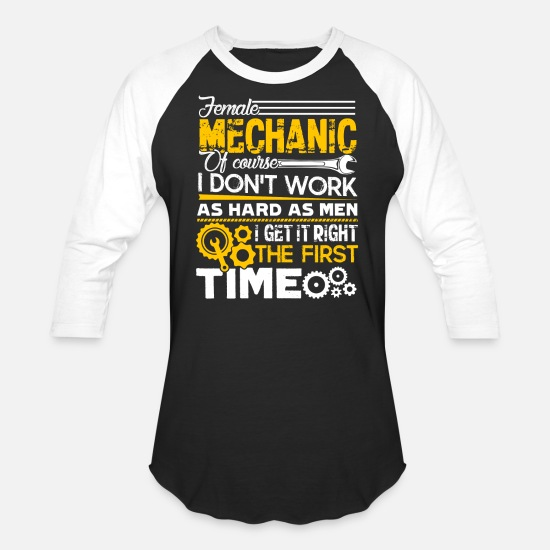 Female T-Shirts - Female Mechanic Shirt - Unisex Baseball T-Shirt black/white