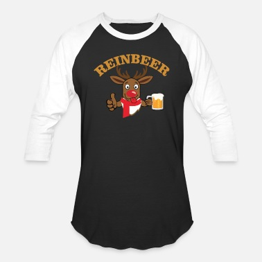 Drinking Reinbeer Shirt - Beer Drinking Christmas Reindeer - Baseball T-Shirt