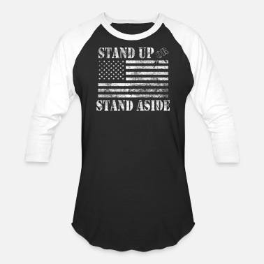 Standing Military American Military USA Flag Stand Up or Stand - Baseball T-Shirt