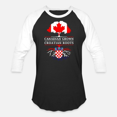 Croatian Roots Canadian Grown with Croatian Roots Croatia Design - Baseball T-Shirt