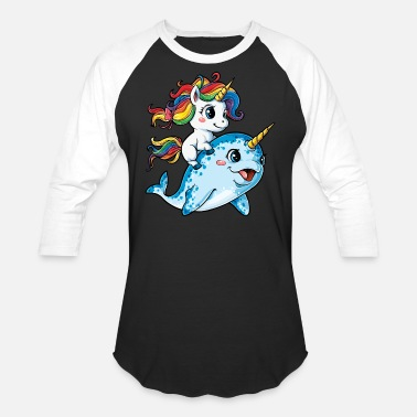 Narwhal Unicorn Riding Narwhal T shirt Squad Girls Kids Rainbow Unicorns Gifts Party - Baseball T-Shirt