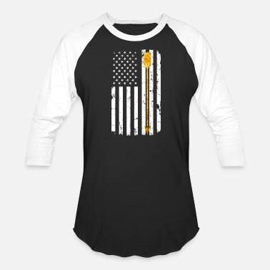 Archery Designs Gold Archery Arrow Distressed American Flag - Baseball T-Shirt
