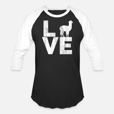 I Love Alpacas I Love Alpacas Two Tone Distressed Effect - Unisex Baseball T-Shirt