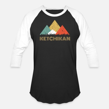 Alaska Souvenir Retro City of Ketchikan Mountain Shirt - Baseball T-Shirt