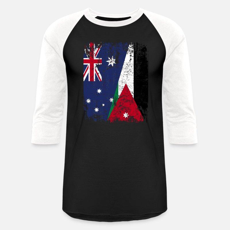 7204570ad4a Jordanian T-Shirts - AUSTRALIA JORDAN FLAG - Half Jordanian - Unisex  Baseball T-