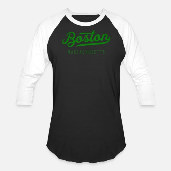 Boston T-Shirts - Green Classic Boston Massachusetts Bean Town - Unisex Baseball T-Shirt black/white