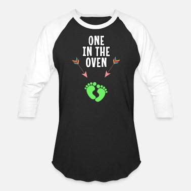 Feet One In The Oven Feet Funny Baby Bump Pregnancy - Unisex Baseball T-Shirt
