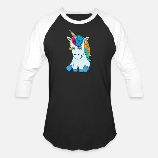 Funny T-Shirts - Unicorn laughing standing - Unisex Baseball T-Shirt black/white