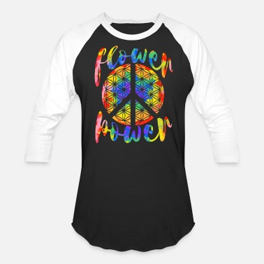 Power Flower Power Flower of Life Hippie Design - Unisex Baseball T-Shirt