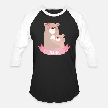Mama Bear 2 Cubs Womens T Shirts Mama Bear With Cub - Unisex Baseball T-Shirt