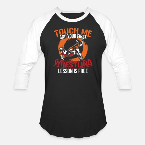 Sumo T-Shirts - First Wrestling Lesson - Unisex Baseball T-Shirt black/white
