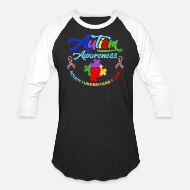 Autism Awareness Ribbon Shirts Great Gift - Unisex Baseball T-Shirt