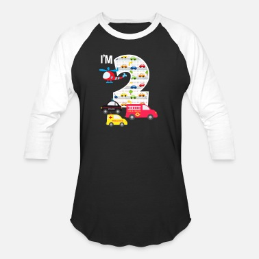 2 2nd Birthday Fire Truck Police Car 2 Year Old - Unisex Baseball T-Shirt