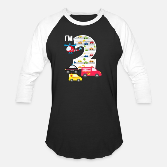 Year T-Shirts - 2nd Birthday Fire Truck Police Car 2 Year Old - Unisex Baseball T-Shirt black/white
