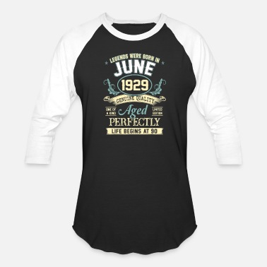 Womens 90 Years Old June 1929 90th Birthday Gift 90 Year Old For Men - Unisex Baseball T-Shirt