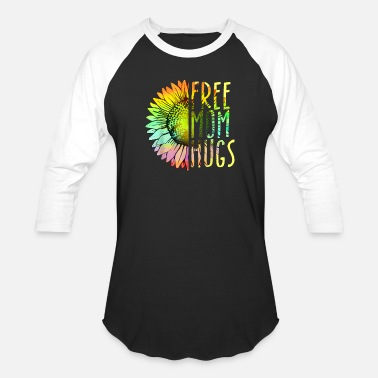 Hugs Womens Free Mom Hugs Shirt - LGBT Rainbow Sunflowe - Unisex Baseball T-Shirt