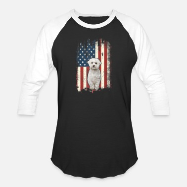 Bichon Frise American Flag Shirt USA Patriotic Dog - Unisex Baseball T-Shirt