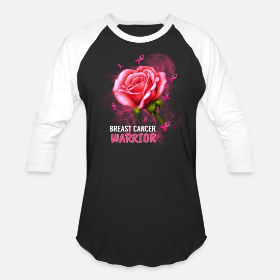 Cancer T-Shirts - Rose Breast Cancer Warrior Breast Cancer Awareness - Unisex Baseball T-Shirt black/white