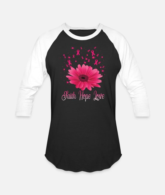 Breast Cancer Month T-Shirts - Pink Ribbon Breast Cancer Awareness Love Gift - Unisex Baseball T-Shirt black/white